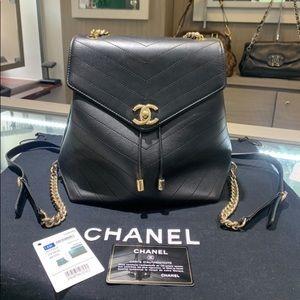 Chanel 18B Black Calfskin Backpack Gold Hardware